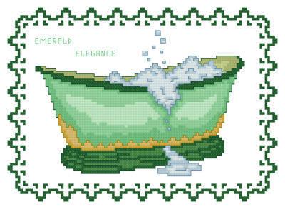 cross stitch pattern BathTub Collection Emerald Elegance