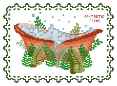 cross stitch pattern BathTub Collection Fantastic Ferns
