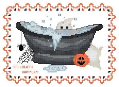 cross stitch pattern BathTub Collection Halloween Harmony