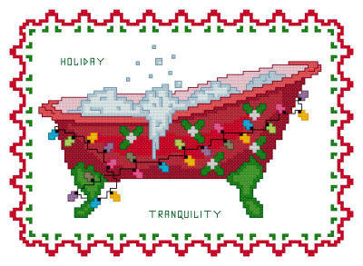 cross stitch pattern BathTub Collection Holiday Tranquility