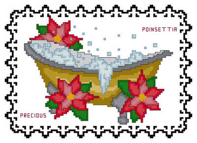 cross stitch pattern Bath Tub Collection Precious Poinsettia