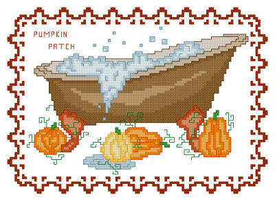 cross stitch pattern BathTub Collection Pumpkin Patch