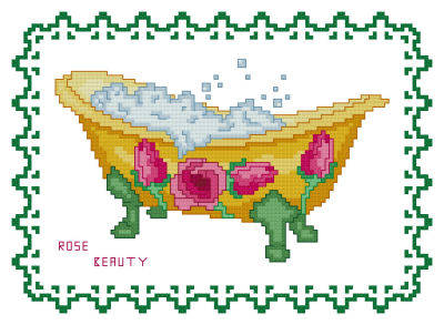 cross stitch pattern BathTub Collection Rose Beauty