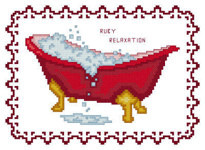 cross stitch pattern BathTub Collection Ruby Relaxation