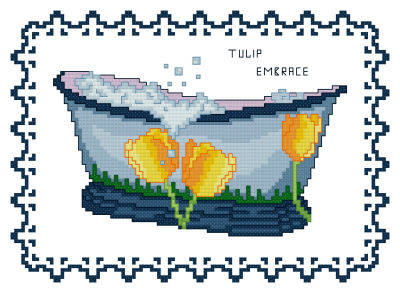 cross stitch pattern BathTub Collection Tulip Embrace