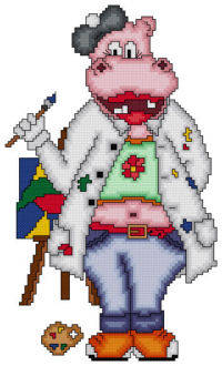 cross stitch pattern Harriet The Painting Artist