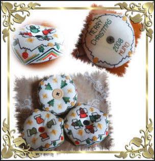 cross stitch pattern Holiday Cheer Biscornu Set