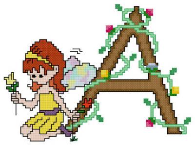 cross stitch pattern Pixies Initials - A