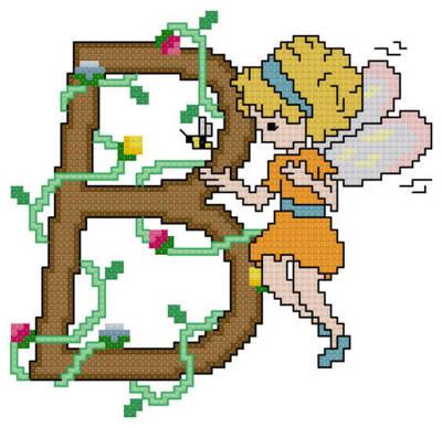 cross stitch pattern Pixies Initials - B