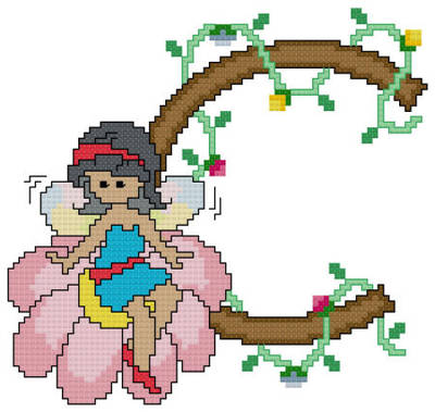 cross stitch pattern Pixies Initials - C