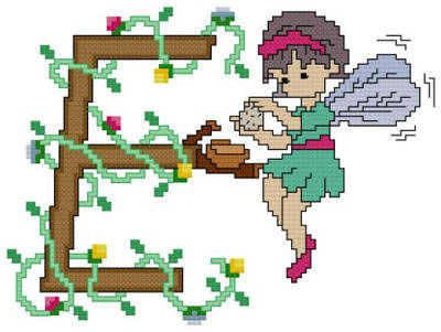 cross stitch pattern Pixies Initials - E
