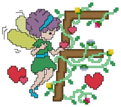 cross stitch pattern Pixies Initials - F