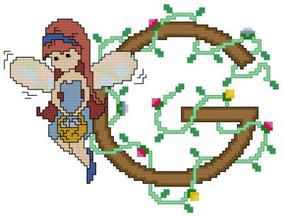 cross stitch pattern Pixies Initials - G