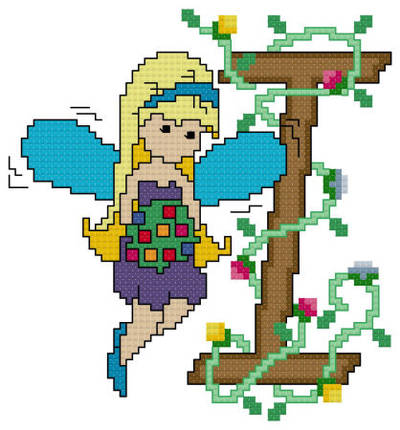 cross stitch pattern Pixies Initials - I