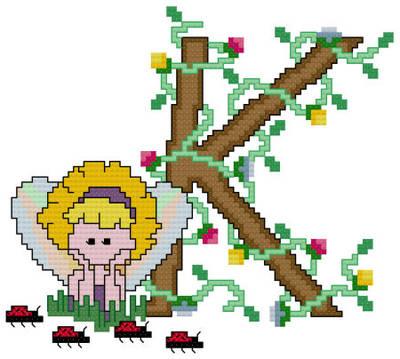 cross stitch pattern Pixies Initials - K