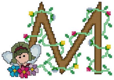 cross stitch pattern Pixies Initials - M