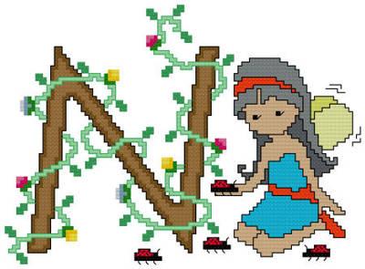 cross stitch pattern Pixies Initials - N