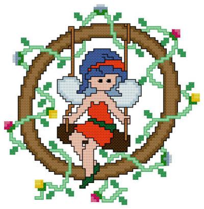 cross stitch pattern Pixies Initials - O