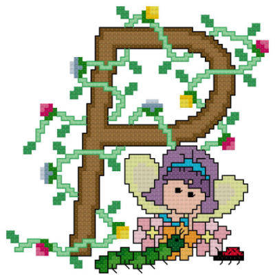 cross stitch pattern Pixies Initials - P