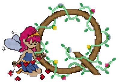 cross stitch pattern Pixies Initials - Q