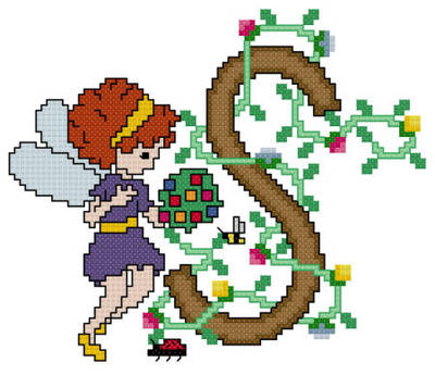 cross stitch pattern Pixies Initials - S