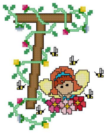 cross stitch pattern Pixies Initials - T