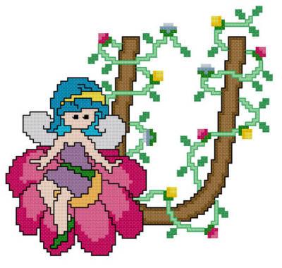 cross stitch pattern Pixies Initials - U