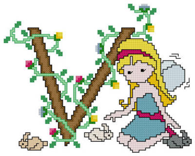 cross stitch pattern Pixies Initials - V
