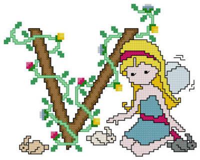 cross stitch pattern Pixies Initials - V