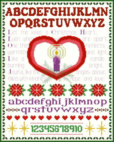 cross stitch pattern Christmas Heart Sampler