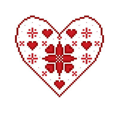 cross stitch pattern Danish Heart Ornament