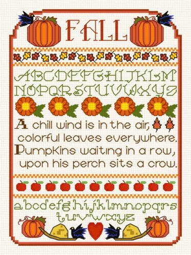 cross stitch pattern Fall Sampler
