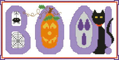 cross stitch pattern Halloween Boo