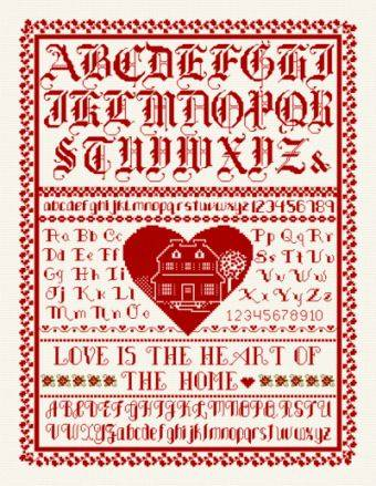 cross stitch pattern Heart of the Home Sampler