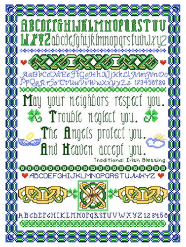 cross stitch pattern Irish Angels Protect You