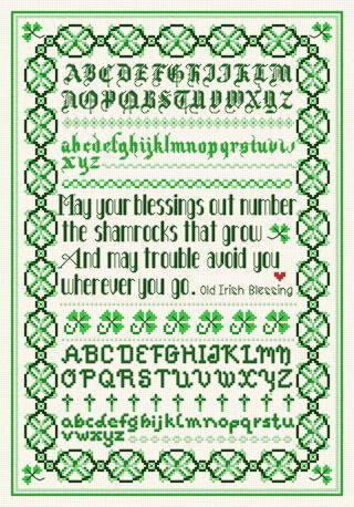 cross stitch pattern Irish Blessing Sampler