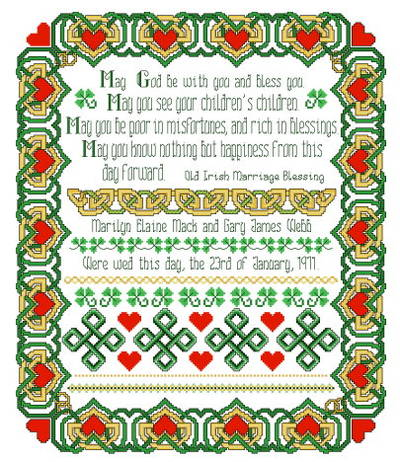 cross stitch pattern Irish Wedding Sampler
