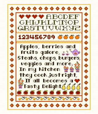 cross stitch pattern Kitchen Sampler