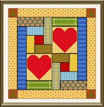 cross stitch pattern Log Cabin Love