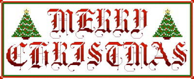 cross stitch pattern Merry Christmas 2