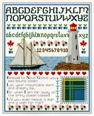 cross stitch pattern Nova Scotia Sampler