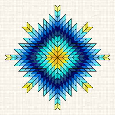 cross stitch pattern Northern Star Quilt