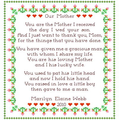 cross stitch pattern Our Mother Sampler