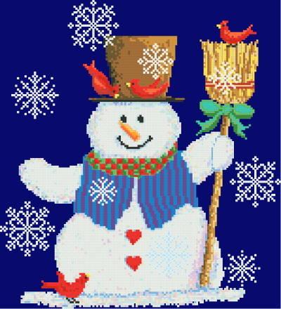 cross stitch pattern Snowman and Cardinals