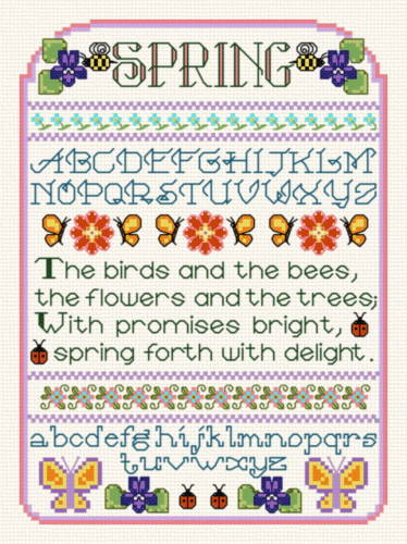 cross stitch pattern Spring Sampler