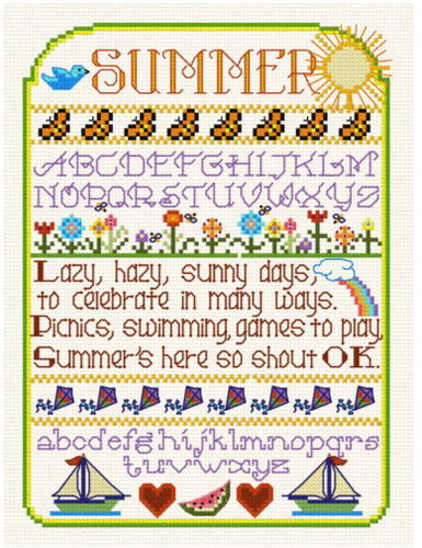 cross stitch pattern Summer Sampler