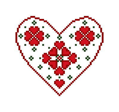 cross stitch pattern Swedish Heart Ornament
