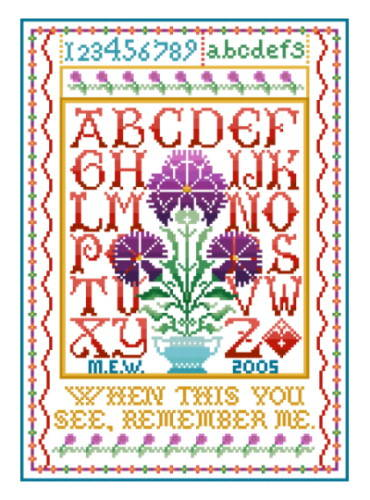 cross stitch pattern Thistle Sampler