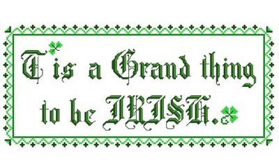 cross stitch pattern Grand to be Irish