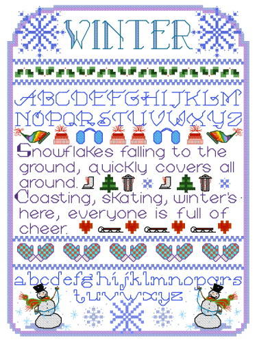 cross stitch pattern Winter Sampler
